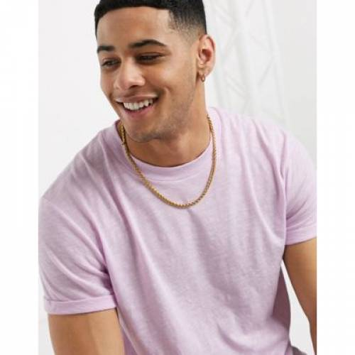 Tシャツ スリーブ メンズファッション トップス カットソー 【 SLEEVE ASOS DESIGN TSHIRT WITH ROLL AND CURVED HEM IN LILAC INJECT FABRIC 】