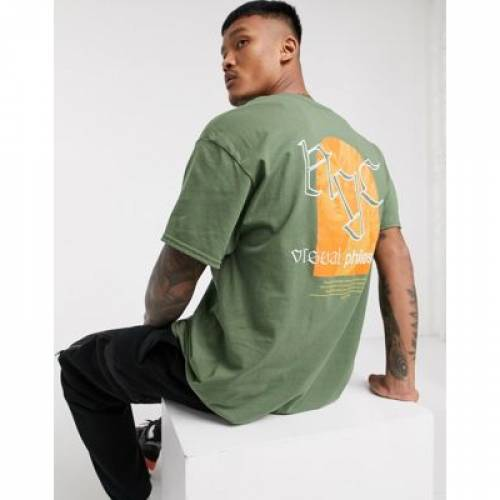 Tシャツ カーキ メンズファッション トップス カットソー 【 BOOHOOMAN OVERSIZED NYC PHILISOPHY FRONT AND BACK PRINT TSHIRT IN KHAKI 】