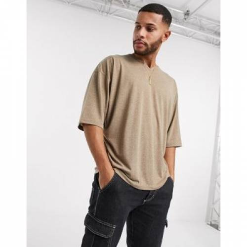 Tシャツ ハーフ スリーブ メンズファッション トップス カットソー 【 SLEEVE ASOS DESIGN OVERSIZED TSHIRT WITH NOTCH NECK AND HALF IN BEIGE LINEN MIX 】