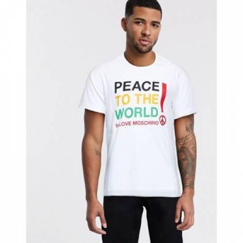 Tシャツ 白 ホワイト メンズファッション トップス カットソー 【 WHITE LOVE MOSCHINO WORLD PEACE TSHIRT IN 】