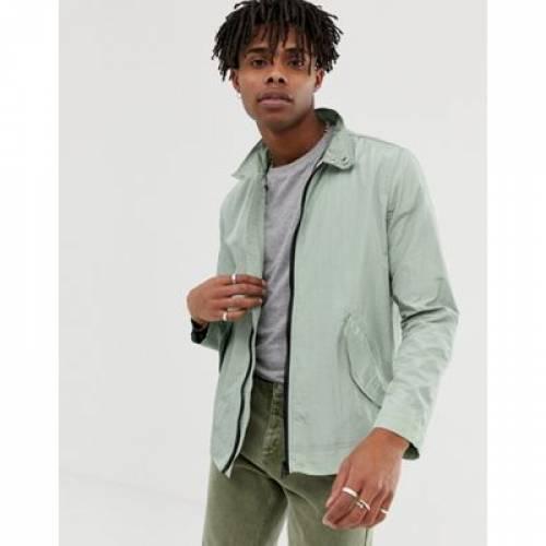 緑 グリーン メンズファッション コート ジャケット 【 GREEN ASOS DESIGN LIGHTWEIGHT HARRINGTON JACKET IN 】