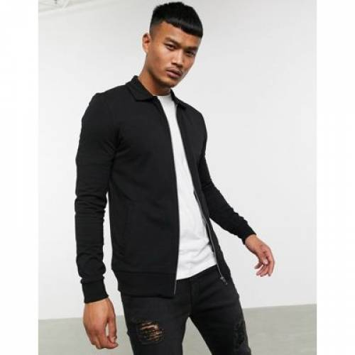 ジャージ 黒 ブラック メンズファッション コート ジャケット 【 BLACK ASOS DESIGN MUSCLE HARRINGTON JERSEY JACKET IN 】
