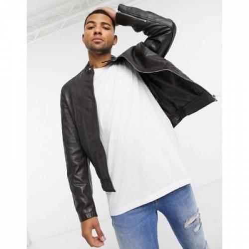 レザー 茶 ブラウン メンズファッション コート ジャケット 【 BROWN ASOS DESIGN LEATHER RACING BIKER JACKET IN 】