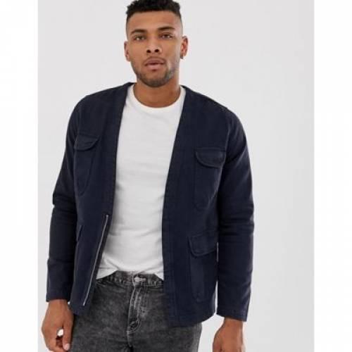 紺 ネイビー メンズファッション コート ジャケット 【 NAVY ASOS DESIGN UTILITY JACKET IN 】