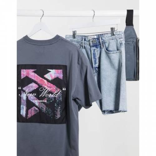 Tシャツ GRAY灰色 グレイ メンズファッション トップス カットソー 【 GREY RIVER ISLAND BOXY TSHIRT WITH BACK PRINT IN 】