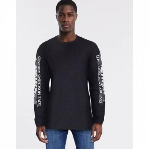 スリーブ Tシャツ メンズファッション トップス カットソー 【 SLEEVE LOVE MOSCHINO PRINT LONG TSHIRT 】