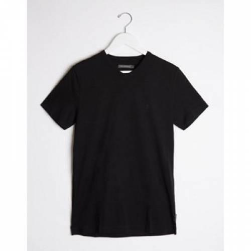 Tシャツ 黒 ブラック メンズファッション トップス カットソー 【 BLACK FRENCH CONNECTION V NECK TSHIRT IN 】
