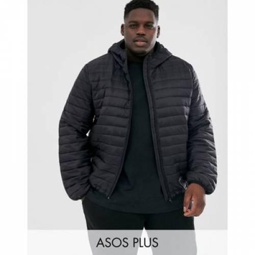 黒 ブラック メンズファッション コート ジャケット 【 BLACK ASOS DESIGN PLUS LIGHTWEIGHT PUFFER JACKET WITH HOOD IN 】