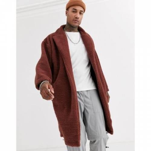 茶 ブラウン メンズファッション コート ジャケット 【 BROWN ASOS DESIGN EXTREME OVERSIZED DUSTER JACKET IN TEDDY BORG 】
