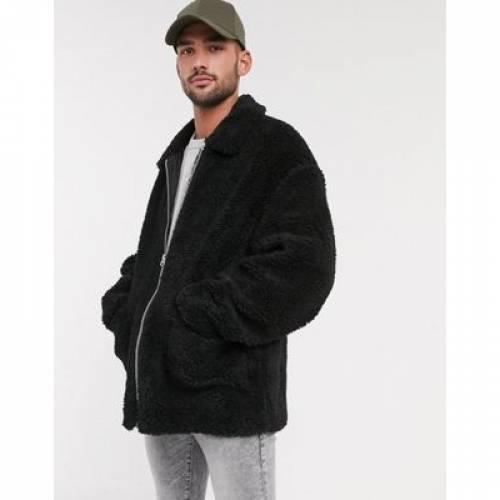 黒 ブラック メンズファッション コート ジャケット 【 BLACK ASOS DESIGN TEDDY HARRINGTON JACKET IN 】