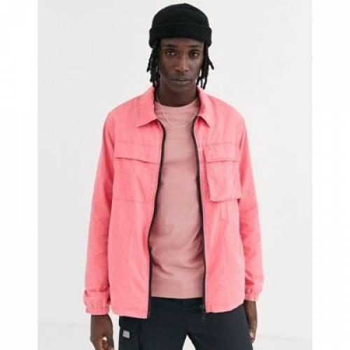 ピンク メンズファッション コート ジャケット 【 PINK ASOS DESIGN UTILITY JACKET IN ACID WASH 】