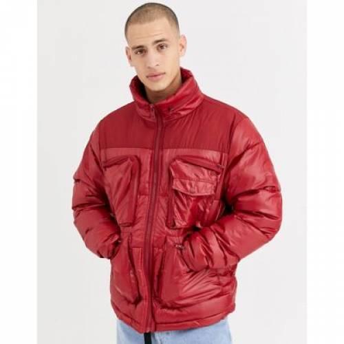 赤 レッド メンズファッション コート ジャケット 【 RED ASOS DESIGN PUFFER JACKET IN WITH UTILITY POCKETS 】