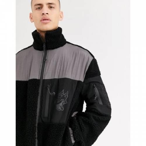 メンズファッション コート ジャケットCROOKED TONGUES BORG ZIP THROUGH JACKET WITH PATCH POCKETSARc4L35jq