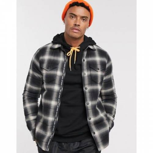 黒 ブラック メンズファッション コート ジャケット 【 BLACK REPLAY LIGHTWEIGHT CHECK BUTTON THROUGH JACKET IN AND STONE 】