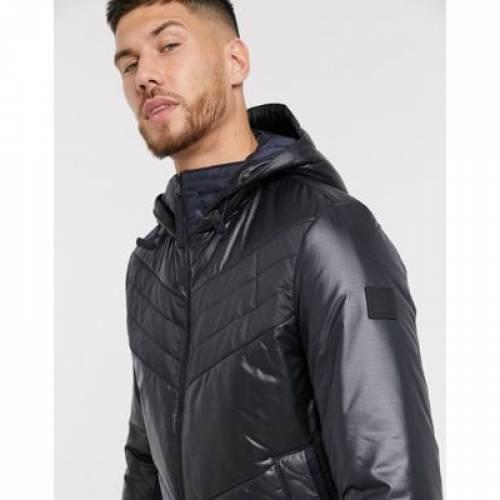 黒 ブラック メンズファッション コート ジャケット 【 BLACK BOSS OPALM QUILTED JACKET WITH HOOD IN 】