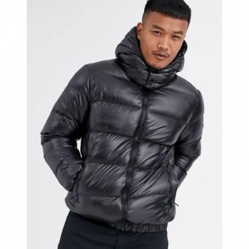 黒 ブラック メンズファッション コート ジャケット 【 BLACK GOOD FOR NOTHING HOODED PUFFER JACKET IN WET LOOK 】