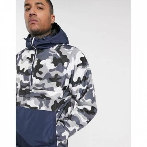 PULL&BEAR メンズファッション コート ジャケット 【 OVERHEAD JACKET WITH CAMO PRINT IN GREY BLUE 】
