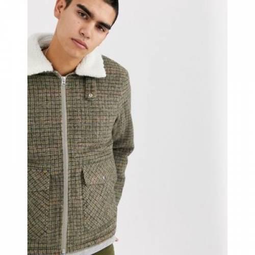 茶 ブラウン メンズファッション コート ジャケット 【 BROWN WEEKDAY BORG JUSTUS JACKET IN 】