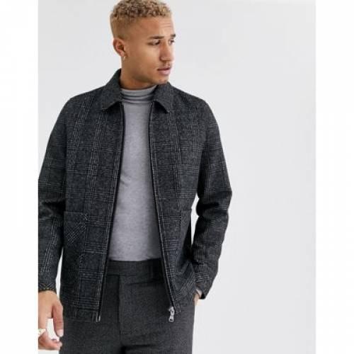 灰色 グレ メンズファッション コート ジャケット 【 ASOS DESIGN WOOL MIX HARRINGTON JACKET IN GREY CHECK 】