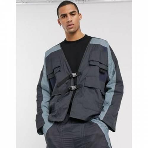 青 ブルー メンズファッション コート ジャケット 【 BLUE ASOS DESIGN COORD UTILITY JACKET IN 】