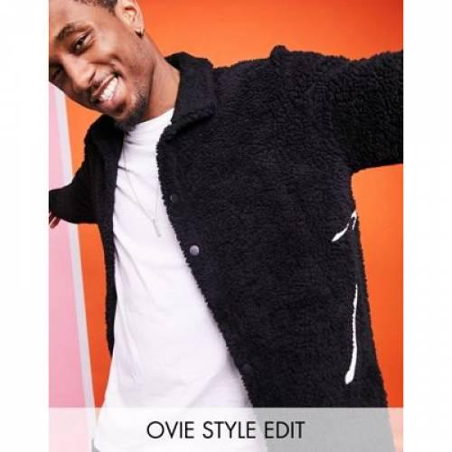 黒 ブラック メンズファッション コート ジャケット 【 BLACK ASOS DESIGN OVERSIZED TEDDY BORG HARRINGTON IN WITH EMBROIDERY 】