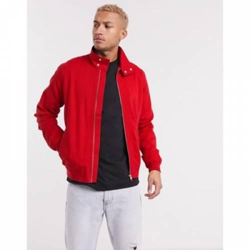 赤 レッド メンズファッション コート ジャケット 【 RED ASOS DESIGN HARRINGTON JACKET IN 】