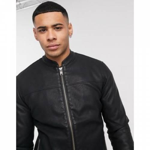 ソリッド レザー 黒 ブラック メンズファッション コート ジャケット 【 BLACK SOLID FAUX LEATHER JACKET IN 】
