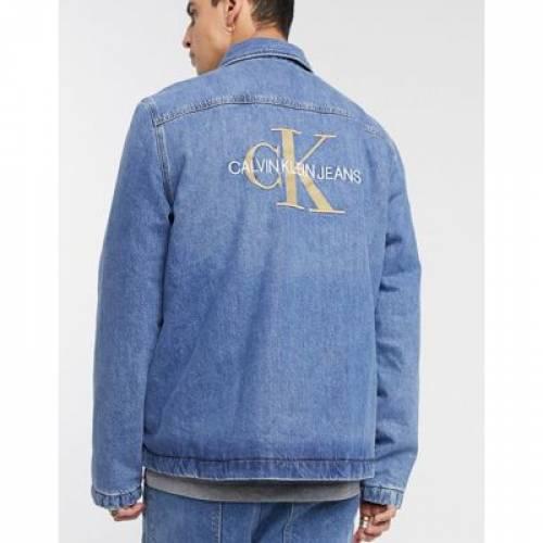 パッド 青 ブルー メンズファッション コート ジャケット 【 PADDED BLUE CALVIN KLEIN JEANS SHIRT JACKET IN 】