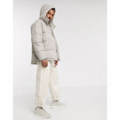 メンズファッション コート ジャケット 【 ASOS DESIGN PUFFER HOODED JACKET WITH SIDE ZIP DETAIL IN STONE 】