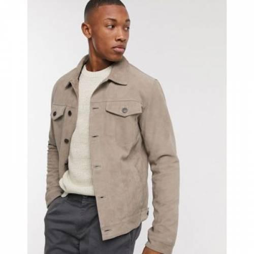スエード スウェード 砂色 サンド メンズファッション コート ジャケット 【 SELECTED HOMME SUEDE WESTERN JACKET IN SAND 】
