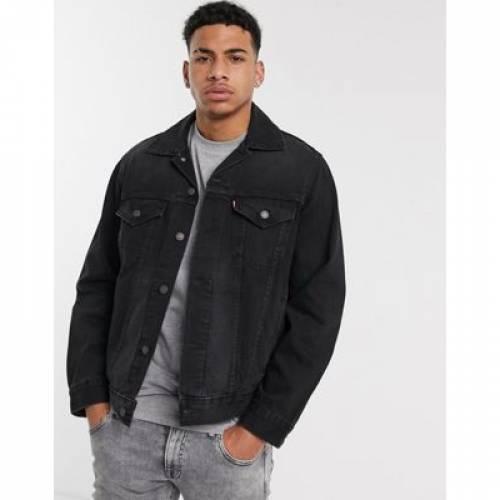 ビンテージ ヴィンテージ デニム トラッカー 黒 ブラック LEVI'S メンズファッション コート ジャケット 【 VINTAGE BLACK OVERSIZED FIT DENIM TRUCKER IN VERY 】