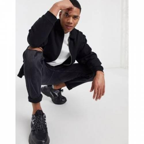 ジャージ 黒 ブラック メンズファッション コート ジャケット 【 BLACK ASOS DESIGN JERSEY OVERSIZED LONGLINE HARRINGTON BOMBER JACKET IN 】