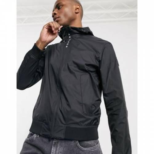 ロゴ 黒 ブラック メンズファッション コート ジャケット 【 BLACK REPLAY LIGHTWEIGHT HOODED JACKET WITH LOGO ZIP TAPE IN 】