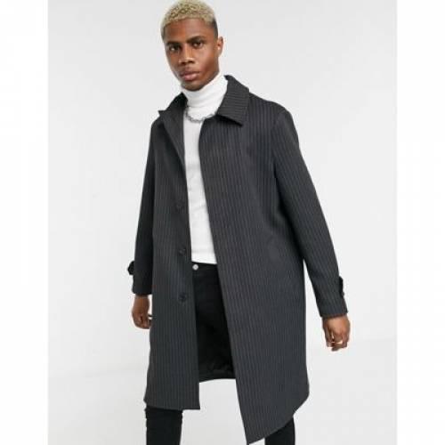 プレミアム 灰色 グレ メンズファッション コート ジャケット 【 PREMIUM TOPMAN MAC IN GREY PINSTRIPE 】