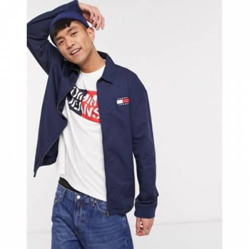 ロゴ 紺 ネイビー メンズファッション コート ジャケット 【 NAVY TOMMY JEANS FLAG BADGE LOGO CASUAL COTTON HARRINGTON JACKET IN 】