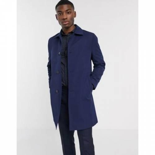 紺 ネイビー メンズファッション コート ジャケット 【 NAVY MOSS LONDON WATERPROOF MAC IN 】