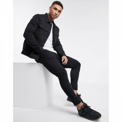 黒 ブラック メンズファッション コート ジャケット 【 BLACK NEW LOOK UTILITY JACKET IN DARK 】