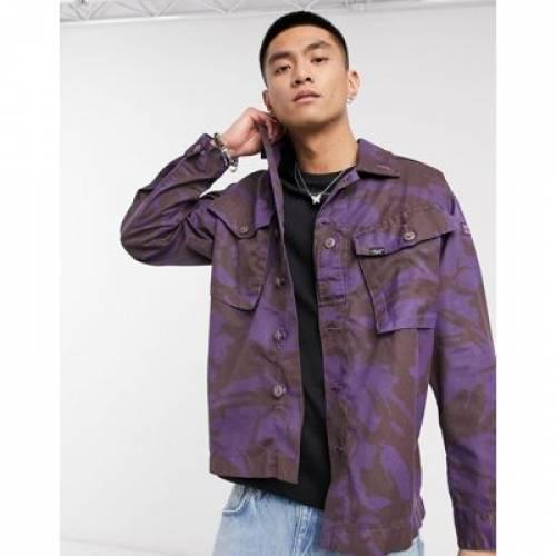 ビンテージ ヴィンテージ サプライ 紫 パープル メンズファッション コート ジャケット 【 VINTAGE SUPPLY PURPLE OVERDYE CAMO JACKET IN 】