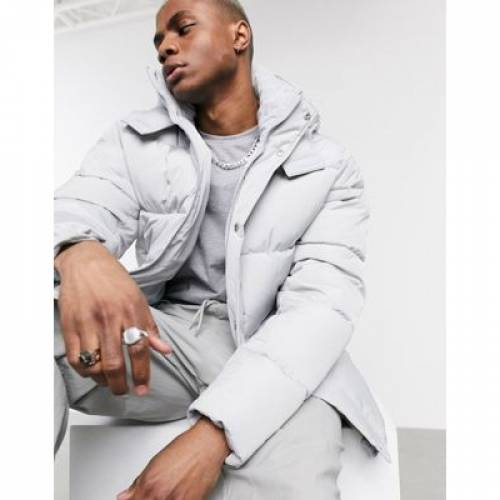灰色 グレ メンズファッション コート ジャケット 【 ASOS DESIGN SUSTAINABLE PUFFER JACKET WITH HOOD IN GREY 】