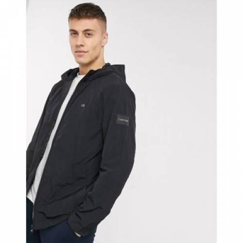 ナイロン 黒 ブラック メンズファッション コート ジャケット 【 BLACK CALVIN KLEIN CRINKLE NYLON JACKET IN 】