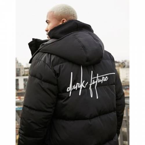 黒 ブラック メンズファッション コート ジャケット 【 BLACK ASOS DESIGN DARK FUTURE SUSTAINABLE PUFFER JACKET IN 】