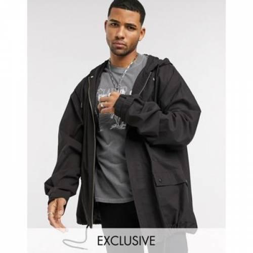 ビンテージ ヴィンテージ パーカー 黒 ブラック メンズファッション コート ジャケット 【 VINTAGE BLACK RECLAIMED OVERSIZED COTTON PARKER JACKET IN WASH 】