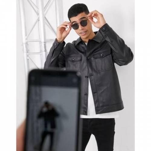レザー 黒 ブラック メンズファッション コート ジャケット 【 BLACK ASOS DESIGN HARRINGTON JACKET IN FAUX LEATHER WITH UTILITY POCKETING 】