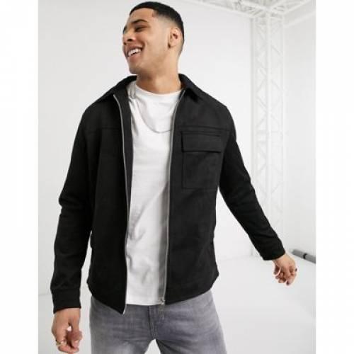 黒 ブラック メンズファッション コート ジャケット 【 BLACK NEW LOOK SUEDETTE UTILITY JACKET IN 】