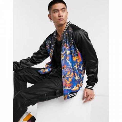 サテン メンズファッション コート ジャケット 【 BLOOD BROTHER SATIN VASITY JACKET IN PRINT BLACK 】