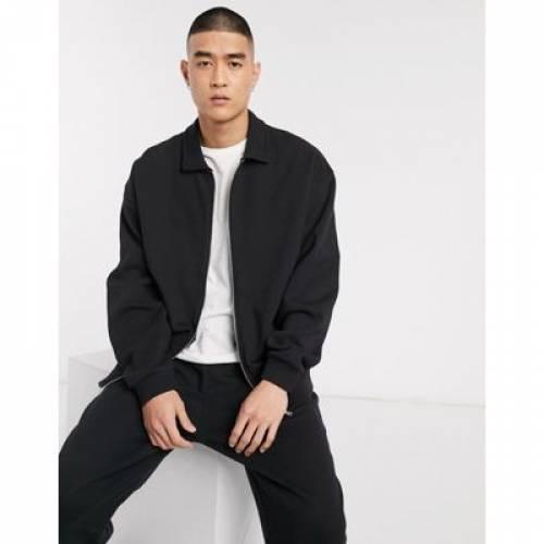 ジャージ 黒 ブラック メンズファッション コート ジャケット 【 BLACK ASOS DESIGN OVERSIZED JERSEY HARRINGTON JACKET IN 】