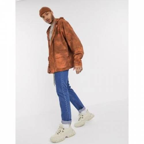 ビンテージ ヴィンテージ パーカー 橙 オレンジ メンズファッション コート ジャケット 【 VINTAGE ORANGE RECLAIMED OVERSIZED COTTON PARKER JACKET IN HEAVY WASH 】