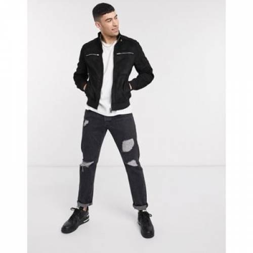 黒 ブラック メンズファッション コート ジャケット 【 BLACK RIVER ISLAND SUEDETTE PERFORATED RACER JACKET IN 】