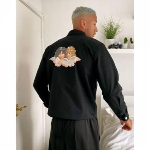 黒 ブラック メンズファッション コート ジャケット 【 BLACK FIORUCCI CARTER JACKET WITH BACK PRINT IN 】