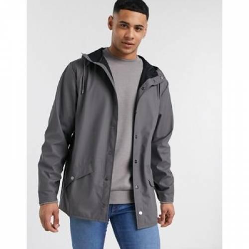 チャコール メンズファッション コート ジャケット 【 RAINS LIGHTWEIGHT HOODED JACKET IN CHARCOAL 】